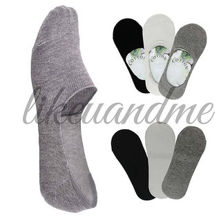 Mens No Show Loafer Socks - Set of 3 Pairs (Black, Grey and White)
