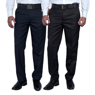 Routeen Wall Street Slim Fit Formal Pants for Men - Blue Black (Combo Pack of 2)