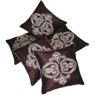 Fascinator Embroidered Brown Cushion covers Set Of 5 (40X40 cms)