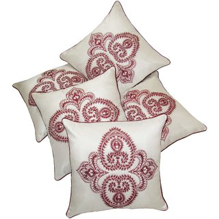 Fascinator Embroidered Ivory Cushion covers Set Of 5 (40X40 cms)