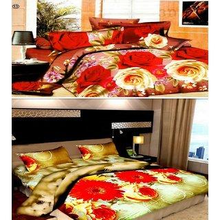 Little joy Super Soft 3D 2 Double Bedsheets Combo With 4 Pillow Covers