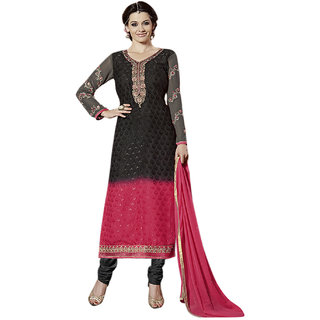 Surat Tex Black Color Traditional Wear Embroidered Brasso Semi-Stitched Salwar Suit-E171DL2510SA