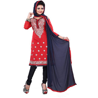 Surat Tex Red Color Casual Wear Embroidered Chanderi Cotton Un-Stitched Dress Material Without Inner-F162DL2001SU