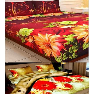 Little joy Super Soft 3D 2 Double Bedsheets Combo With 4 Pillow Covers