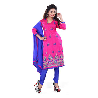 Surat Tex Pink Color Casual Wear Embroidered Chanderi Cotton Un-Stitched Dress Material Without Inner-F185DL2024SU