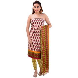 Surat Tex Cream Color Casual Wear Printed Crepe Un-Stitched Dress Material-F922DL7SR