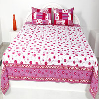 Stencil Bed Cover With Pillow Cover