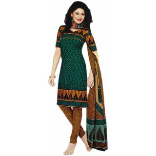 SGC Green & Fawn Cotton Printed unstitched churidar kameez  SH-11412