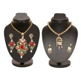 Combo Of Red And Green Heavy Pendant Set With Trendy Golden Set