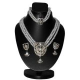 3 Row Shiny Pearl Neklace Set With Earring And Bracelet D And Y611