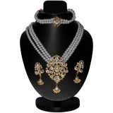 3 Row Lustrous Pearl Neklace Set With Earring And Bracelet D And Y612