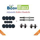 "Body Maxx 4 Kg Adjustable Rubber Plates & 2 Pcs Dumbells Rods 14"""