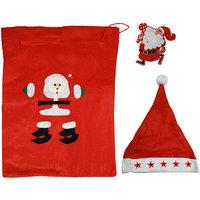 Christmas Party Pack - Gift Bag, Santa Cap With Light And Santa LED Light Badge