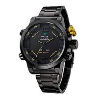 WEIDE Men Yellow Pointers Dual Time LED Digital Analog Wristwatches