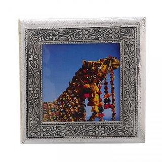 MJR Digital Print Carved White Metal Decorative Dry Fruits Box- Camel