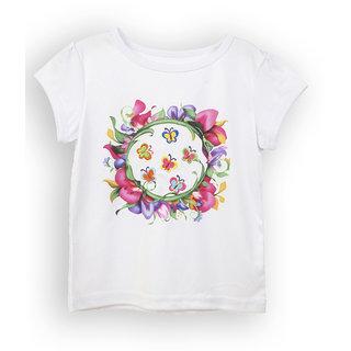 Lilliput White Printed Casual Girls T-Shirt (8907264053167)