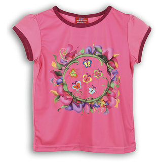 Lilliput Pink Printed Casual Girls T-Shirt (8907264053211)