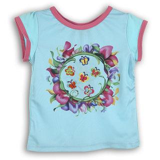 Lilliput Blue Printed Casual Girls T-Shirt (8907264053266)