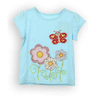 Lilliput Blue Solid Casual Flick Flower T-Shirt (8907264053662)