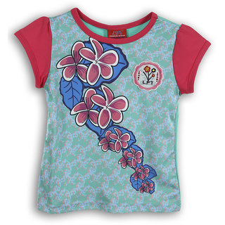 Lilliput Green Printed Casual Lilly Bloom T-Shirt (8907264053792)