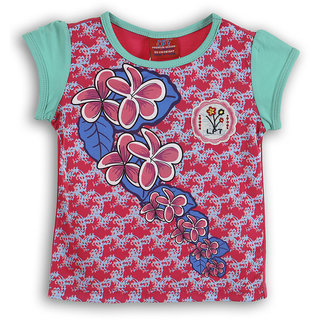 Lilliput Pink Printed Casual Lilly Bloom T-Shirt (8907264053860)