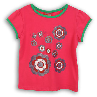Lilliput Pink Printed Casual Flowers Glow T-Shirt (8907264053914)