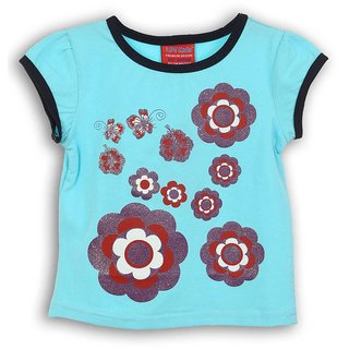 Lilliput Blue Printed Casual Flowers Glow T-Shirt (8907264053969)