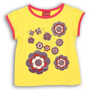 Lilliput Yellow Printed Casual Flowers Glow T-Shirt (8907264054010)