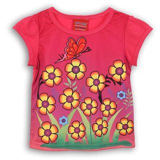 Lilliput Pink Printed Casual Dancing Butterfly T-Shirt (8907264054065)
