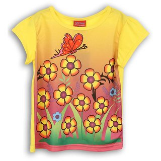 Lilliput Yellow Printed Casual Dancing Butterfly T-Shirt (8907264054119)