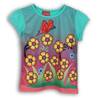 Lilliput Blue Printed Casual Dancing Butterfly T-Shirt (8907264054164)