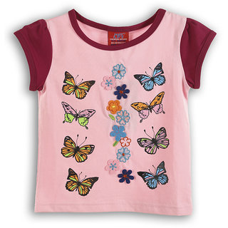Lilliput Pink Embroidered Casual Sway ButterflyS T- Shirt (8907264054218)