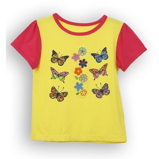Lilliput Yellow Embroidered Casual Sway ButterflyS T- Shirt (8907264054317)