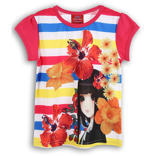 Lilliput Pink Printed Casual Lilly Flowers T- Shirt (8907264054362)