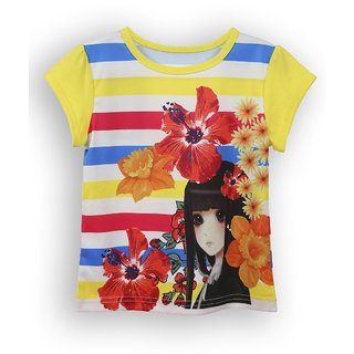 Lilliput Blue Printed Casual Lilly Flowers T- Shirt (8907264054492)