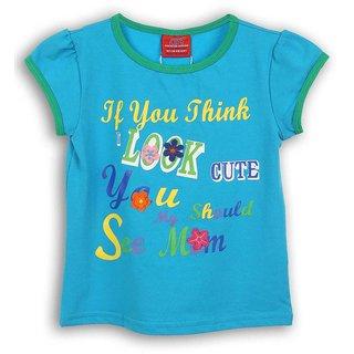 Lilliput Blue Printed Casual Cute T-Shirt (8907264054591)