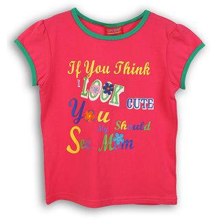 Lilliput Pink Printed Casual Cute T-Shirt (8907264054645)