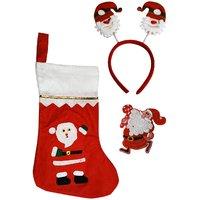 Santa Stocking Santa Hair Band, Hair Band, LED Light Santa Badge