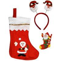 Santa Stocking, Hair Band, LED Light Santa Badge