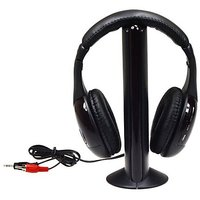 5 In 1 Hi-Fi Wireless Headset Headphone Earphone For TV DVD MP3 PC Black