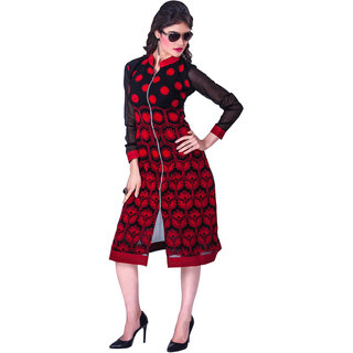 RapidDukan Ready To Wear Black  Red color Embroidered Kurti Heer07
