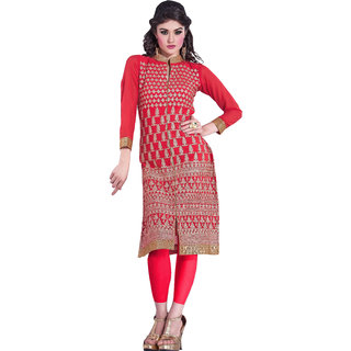 RapidDukan Ready To Wear Pink color Embroidered Kurti Heer08