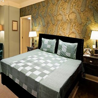 Akash Ganga Green Beautifully Designed Double Bedsheet (KMN564)
