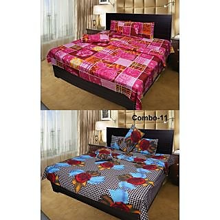 Akash Ganga Combo of 2 Cotton Double Bedsheets (COMBO BS4)