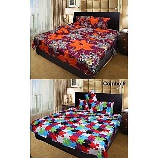 Akash Ganga Combo of 2 Cotton Double Bedsheets (COMBO BS9)