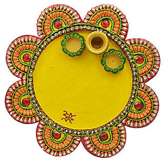 Wood And Papier Mache Flower Shape Matki Pooja Thali
