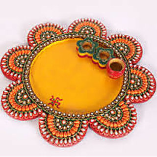Shree Sai Handicraft Brown Wooden Paper Mache Work Gemstone Painted Door Hanging