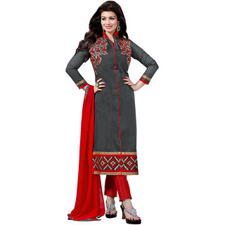 PARISHA Grey Embroidered Un Stitched Straight Suit DMG5309