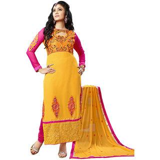 Parisha Khaki And Red Kota Printed Salwar Suit Dress Material