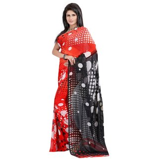 Fabdeal Red Colored Weightless Printed Saree
